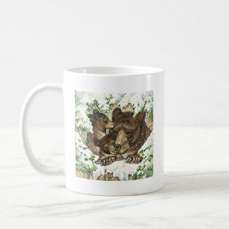 Madre y Cubs del oso negro del arte de la fauna de Tazas De Café