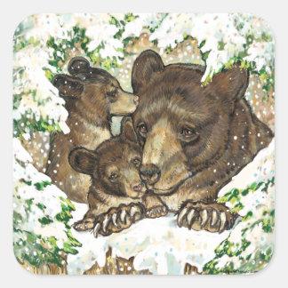 Madre y Cubs del oso negro del arte de la fauna Pegatina Cuadrada