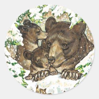 Madre y Cubs del oso negro del arte de la fauna Pegatina Redonda