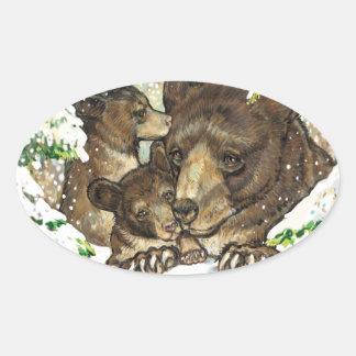 Madre y Cubs del oso negro del arte de la fauna Pegatina Ovalada