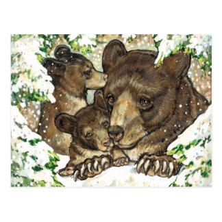 Madre y Cubs del oso negro del arte de la fauna Postal