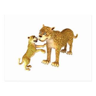 Madre y hijo del leopardo del dibujo animado