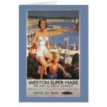 Madre y hijo en el poster del ferrocarril de la tarjeta de felicitación