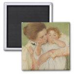 Madre y niño, 1897 imán cuadrado