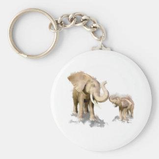 Madre y niño 2 del elefante llavero redondo tipo pin