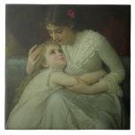 Madre y niño (aceite en lona) azulejo