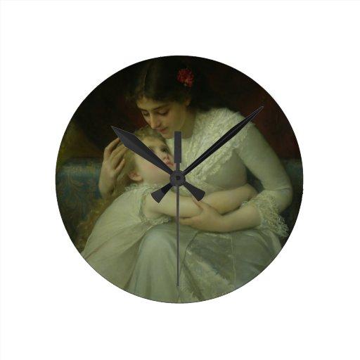 Madre y niño (aceite en lona) reloj