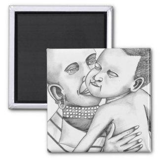 Madre y niño africanos (arte de Kimberly Turnbull) Imán