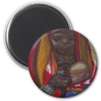 MADRE Y NIÑO AFRICANOS IMÁN DE FRIGORÍFICO
