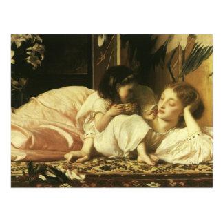 Madre y niño (aka cerezas) por señor Leighton Postal