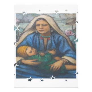 Madre y niño con la frontera de la estrella plantilla de membrete
