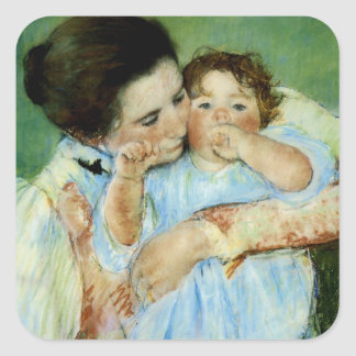 Madre y niño de Maria Cassat Pegatina Cuadrada