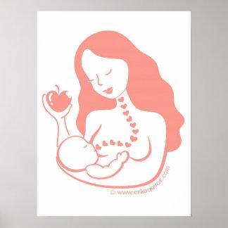 madre y niño de Pecho-alimentación Póster