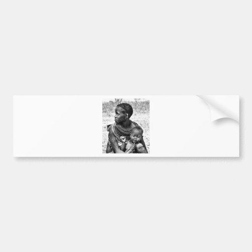 Madre y niño de Samburu Etiqueta De Parachoque