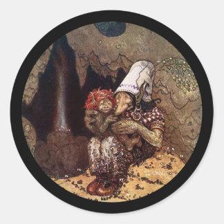 Madre y niño del duende pegatina redonda