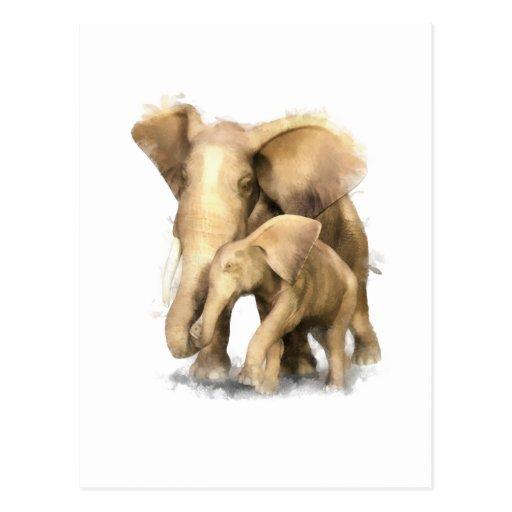 Madre y niño del elefante postal