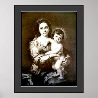 Madre y niño del vintage - grandes póster