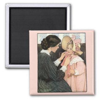 Madre y niño del vintage; Jessie Willcox Smith Imán Cuadrado