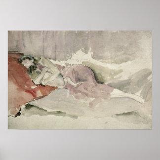 Madre y niño en un sofá póster