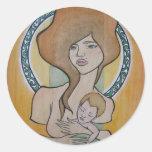 Madre y niño etiquetas redondas