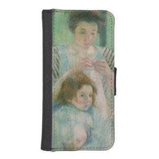 Madre y niño funda billetera para teléfono