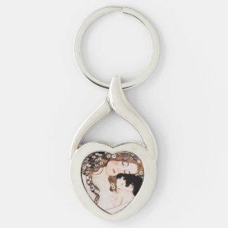 Madre y niño Gustavo Klimt Llavero Plateado En Forma De Corazón