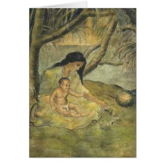 Madre y niño hawaianos - Charles W. Bartlett Tarjeta De Felicitación