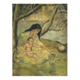Madre y niño hawaianos - Charles W. Bartlett Postales