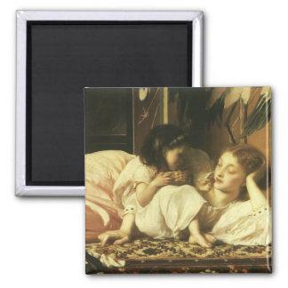 Madre y niño, Leighton, arte del Victorian del Imán Cuadrado