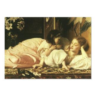 Madre y niño, Leighton, arte del Victorian del Invitación 12,7 X 17,8 Cm