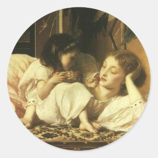 Madre y niño, Leighton, arte del Victorian del Pegatina Redonda
