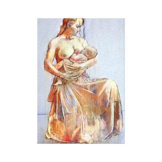 Madre y niño lona envuelta para galerías