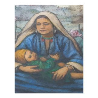 Madre y niño plantilla de membrete