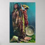 Madre y niño nativos de Piuta en un Papoose Póster