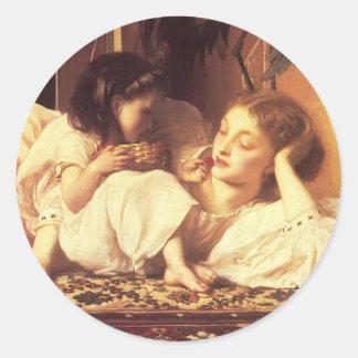 Madre y niño pegatina redonda