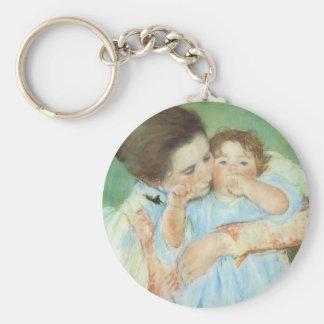 Madre y niño por Cassatt, impresionismo del Llavero Redondo Tipo Chapa