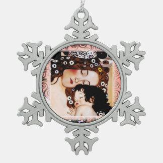 Madre y niño por el collage de Gustavo Klimt Adorno De Peltre En Forma De Copo De Nieve