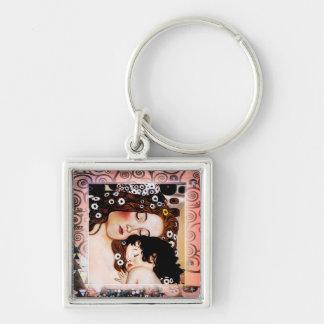 Madre y niño por el collage de Gustavo Klimt Llavero Cuadrado Plateado