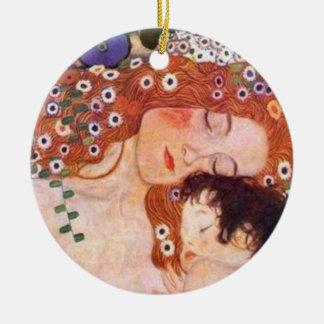 Madre y niño por Klimt Adorno Navideño Redondo De Cerámica