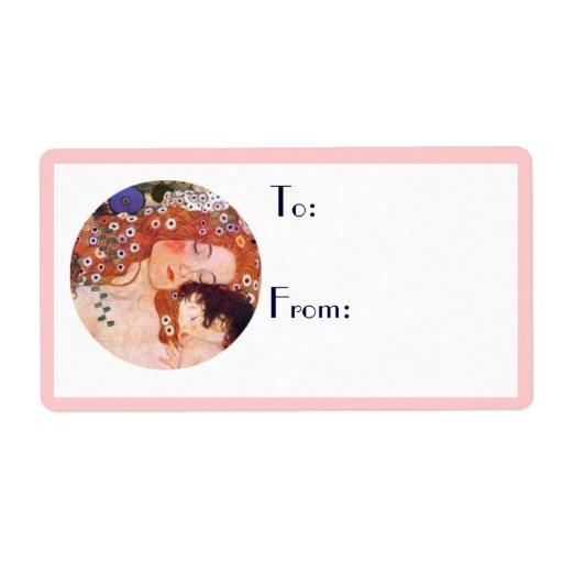 Madre y niño por Klimt Etiqueta De Envío