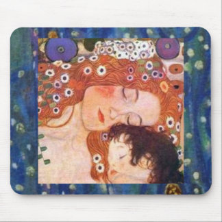 Madre y niño por Klimt Alfombrillas De Raton
