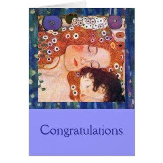 Madre y niño por Klimt Tarjeta De Felicitación