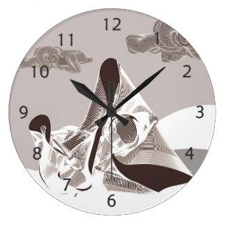 Madre y niño reloj redondo grande