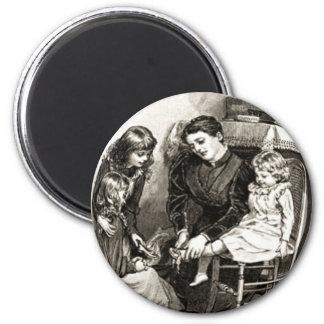 Madre y niños del vintage imán redondo 5 cm