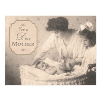 Madre y niños del vintage tarjeta postal
