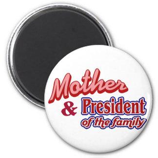 Madre y presidente de la familia imán redondo 5 cm