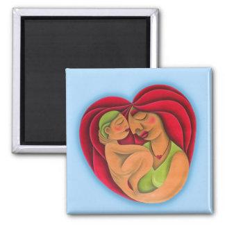 Madre y su hijo pintura óleo arte. Mom. 2 Inch Square Magnet