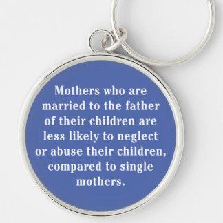 Madres que están casadas con el padre… llavero redondo plateado