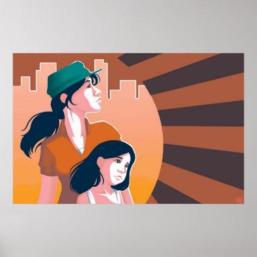 Madres y poster de las hijas póster