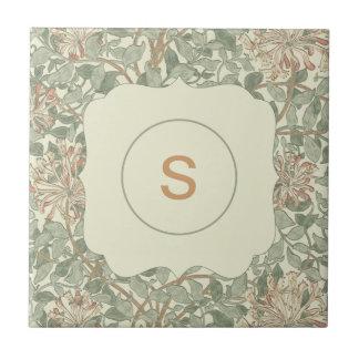 Madreselva del verde de la invitación del boda azulejo cuadrado pequeño
